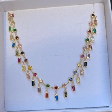 Collana baguette multicolor