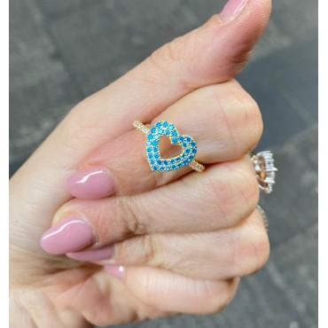 Anello cuore turchese
