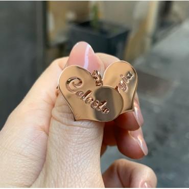 Anello doppio cuore traforato