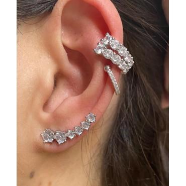 Ear cuff doppio filo zirconato