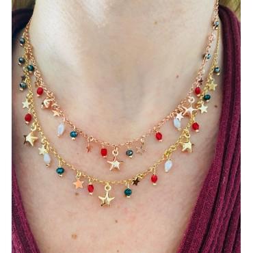 Collana  stelle e pietre colorate