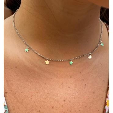 Collana stelline verde tiffany