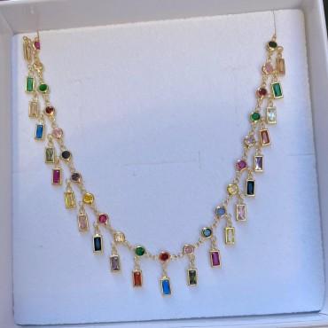 Collana baguette multicolor