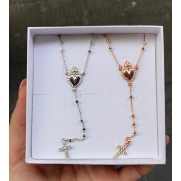 Collana rosario e cuore sacro