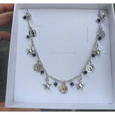 Collana monete-stelle -perline nere