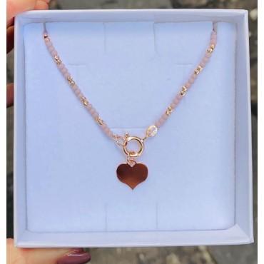 Collana perline lilla e cuore
