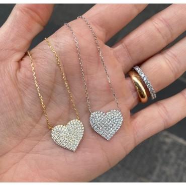 Collana cuore zirconato