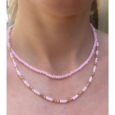 Collana perline rosa