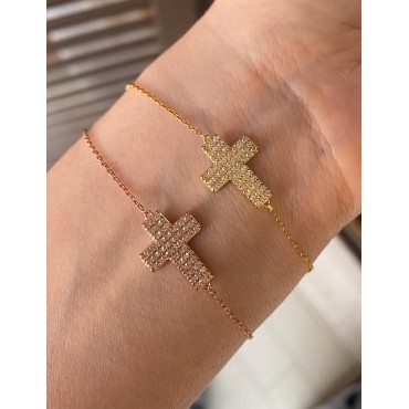 Bracciale croce zirconata