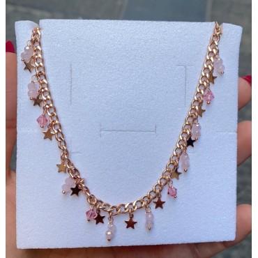 Collana star e perline rosa